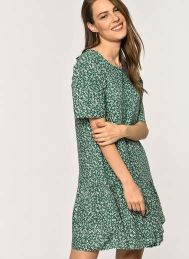 Loves You Viskon Emprime Fırfırlı Elbise Yeşil